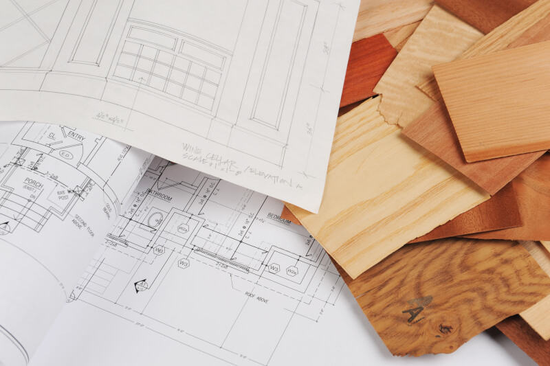 Blueprint and materials for basement renovations
