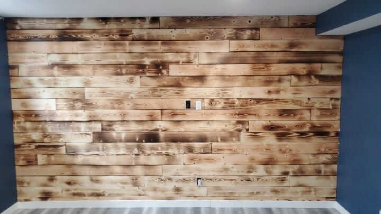 real wood paneling installation
